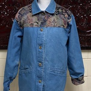 Womens LL Bean Tapestry Jean Denim Lined Jacket M